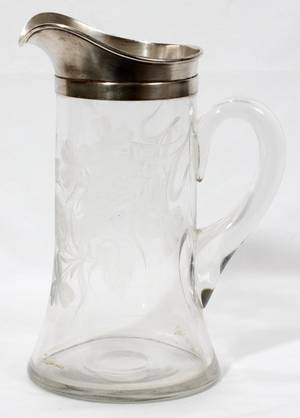 060358 ETCHED CRYSTAL  STERLING SILVER PITCHER