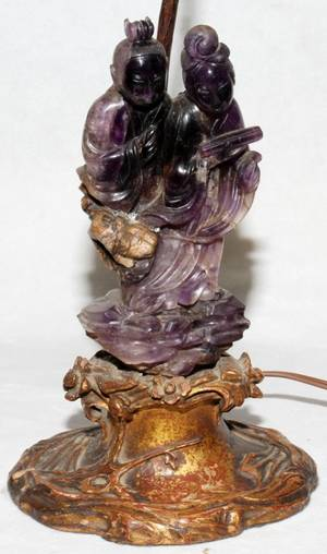 052376 CHINESE AMETHYST QUARTZ GROUP MOUNTED AS A LAMP
