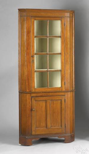 Pennsylvania pine corner cupboard ca 1830