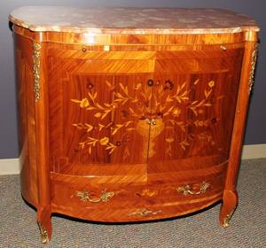 042345 MAHOGANY FRUITWOOD  MARBLE TOP COMMODE