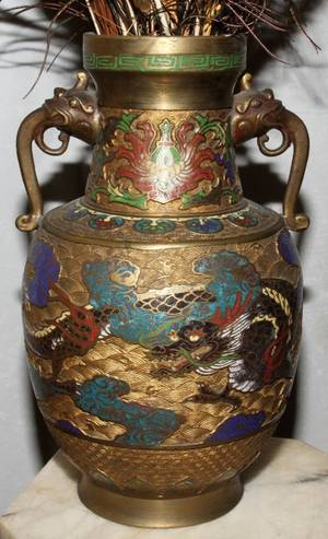 041426 JAPANESE CHAMPLEV  BRASS URN EARLY 20TH C