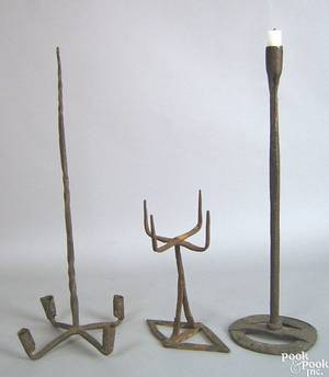 Three wrought iron lighting devices 18th19th c