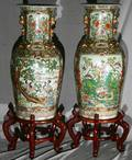 031448 CHINESE PORCELAIN PALACE URNS PAIR H 37