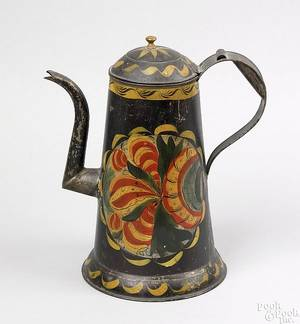 Pennsylvania tole decorated tin coffee pot mid 19th c
