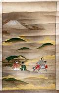 052385 ANTIQUE JAPANESE HAND PAINTED SCROLL 24 X