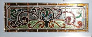 032367 STAINED LEADED GLASS WINDOW 20TH C 15 X 49