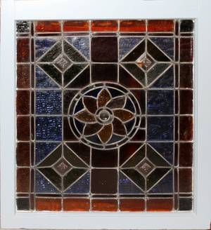 032366 STAINED GLASS LEADED WINDOW C 1900 28 X 23