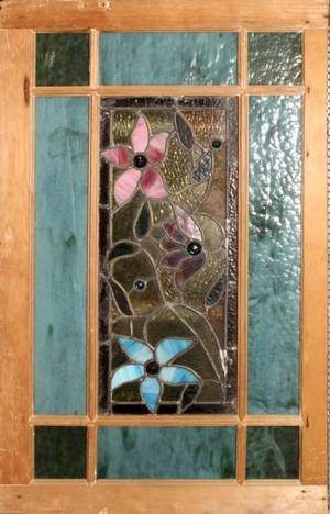 032365 STAINED LEADED GLASS WINDOW C 1900 29 X 18