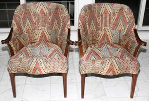 032383 UPHOLSTERED FIRESIDE CHAIRS PAIR