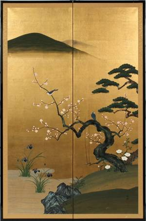 JAPANESE HANDPAINTED TWO PANEL SCREEN