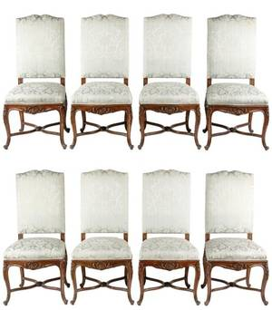 Set of 8 Louis XV Style Dining Side Chairs