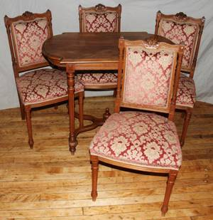 051487 LOUIS XVI STYLE WALNUT PARLOR TABLE  CHAIRS