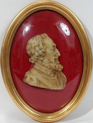 042442 CARVED WAX RELIEF OF SIR WALTER RALEIGH 19TH C