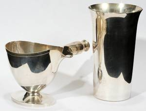 040422 STERLING SILVER SAUCE BOAT AND TUMBLER 2 PCS