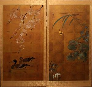 032416 ORIENTAL HAND PAINTED WALL SCREEN
