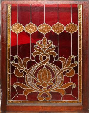 031536 LEADED  STAINED GLASS WINDOW C 1910