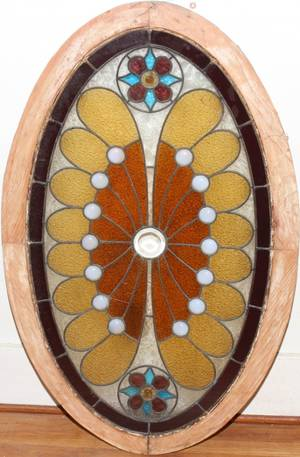 031535 LEADED  STAINED GLASS WINDOW LATE 19TH C