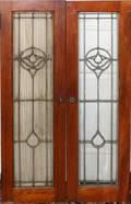 031533 LEADED GLASS  OAK DOORS TWO PAIRS 42 X 12