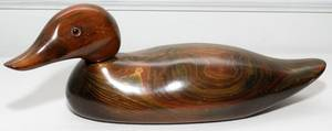 030464 CARVED WOOD DUCK DECOY L 16