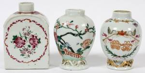 CHINESE EXPORT PORCELAIN TEA CADDIES 19TH C THREE