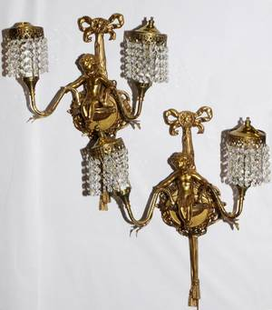 TWOLIGHT GILT METAL AND CRYSTAL WALL SCONCES