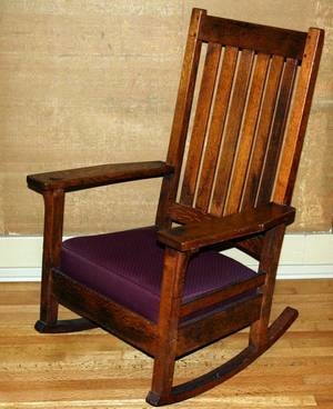 061523 ARTS  CRAFTS OAK ROCKING CHAIR EARLY 20TH C