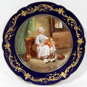 051541 SEVRES PORCELAIN PLATE DIA 9 14REPAIRED