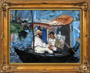 IMPRESSIONIST STYLE OIL ARTIST PAINTING IN A BOAT