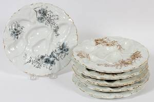 GERMAN PORCELAIN OYSTER PLATES LATE 19TH C SIX