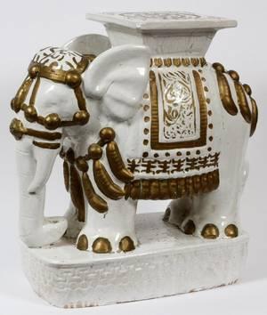 POTTERY ELEPHANT GARDEN SEAT
