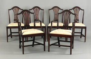 Set of 6 George III mahogany dining chairs late 18th c