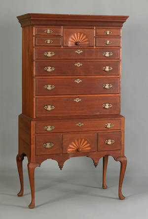Massachusetts Queen Anne walnut highboy ca 1760