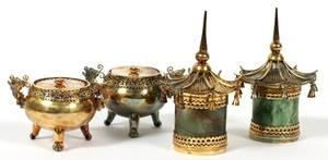 CHINESE MINIATURE COVERED JARS FOUR