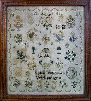 Bucks County Pennsylvania silk on gauze Quaker needlework dated 1805