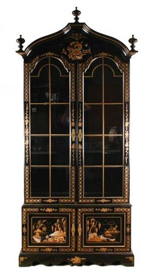 Hickory Black Lacquered Chinoiserie Cabinet