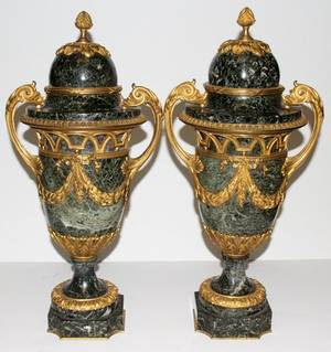 061011 FRENCH GILT BRONZE  MARBLE COVERED URNS PAIR