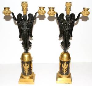 061010 FRENCH BRONZE FIGURAL CANDELABRA C 1890 PAIR