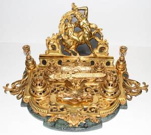 061004 FRENCH GILT BRONZE DESK SET 19TH C H 13