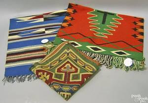 Three small South American weavings
