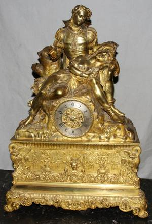 050050 FRENCH FIGURAL GILT BRONZE MANTLE CLOCK H 27