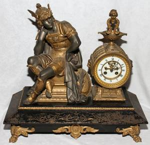 041050 FRENCH SPELTER FIGURAL MANTEL CLOCK LATE 19TH C