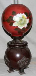 040012 19TH C OIL LAMP WITH HAND PAINTED GLASS SHADE
