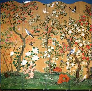 040032 HAND PAINTED EIGHT PANEL SCREEN 96 X 16