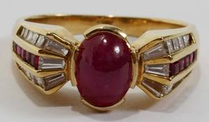 031035 18KT YELLOW GOLD STAR RUBY  DIAMOND RING