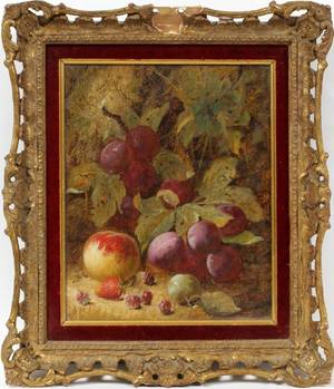 OLIVER CLARE OIL ON CANVAS STILL LIFE OF FRUIT