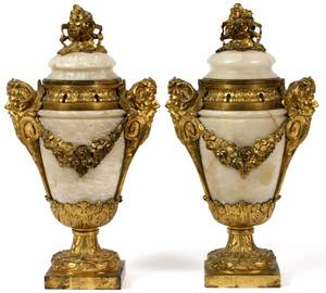 FRENCH BRONZEMOUNTED ALABASTER POTPOURRI URNS PAIR
