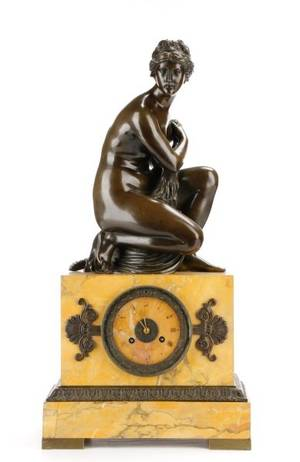 Neoclassical Style Bronze  Marble Figural Clock