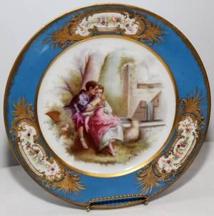 091084 SEVRES PORCELAIN PLATE SIGNED E CURY C 1841
