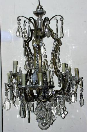 120078 CRYSTAL AND BRONZE TWELVELIGHT CHANDELIER
