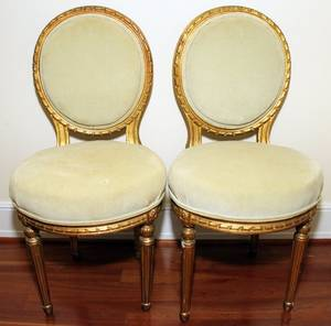 091136 DECORATED GESSO  WOOD SIDE CHAIRS LATE 19TH C